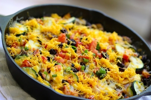 Cheesy-Skillet-Bean-Veggie-Taco