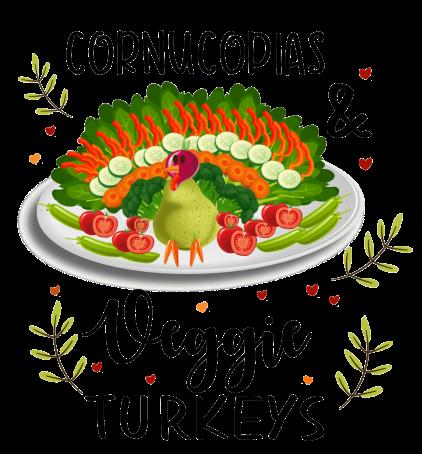cornucopias and veggie centerpieces